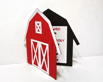 Barn Invitations - Barnyard Theme Invites - Farm Theme Invitations - Red Barn Invitations