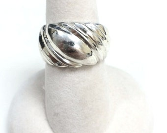 Sterling Silver No Stone Line Design Women's Variation Ring