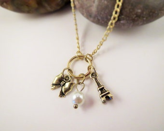 Short Gold Paris Chain Necklace with Eiffel Tower, Pearl, and Bow Charms
