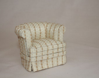 1:12 scale miniature dollhouse upholstered arm chair