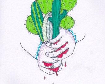Cactus Bouquet Original Art Print A4