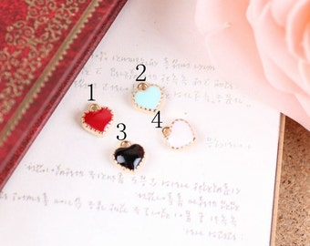 Enameled heart charm collection, 8mm, 4 colors available, bracelet accessories