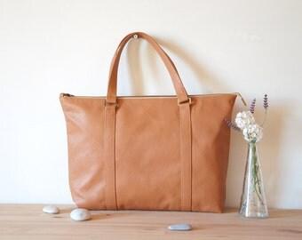 Leather Tote Bag, Tan Leather Tote Bag, Cowskin Large Tote Bag, Large Tote Bag Purse, Leather Tote Handbag, Leather Shoulder Bag, Handbag