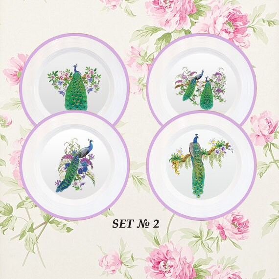 Peacocks Decor 4 Plates Set Kitchen Decorations By Paperplateart