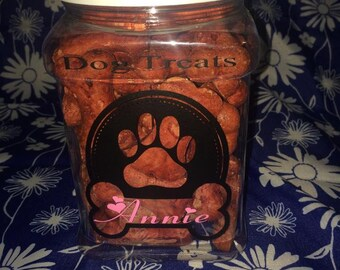 Personalized Dog Treat Container.