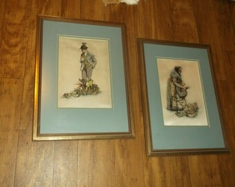 Reduced  Art.Paintings. Pair Paul Geissler Colored Etchings on Silk.Man with Pipe.Woman with Vegatables.Signed, Matted and Framed1953