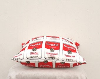 Decorative Pillow cover , Campbell Soup pillow Case,  Red Pillow Case