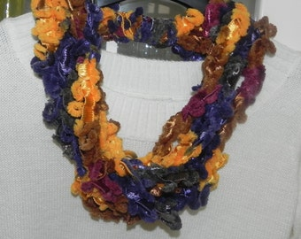 Handmade necklace scarf with crochet multi-color chenille