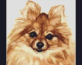 Pomeranian Dog Counted Cross Stitch Pattern in PDF for Instant Download