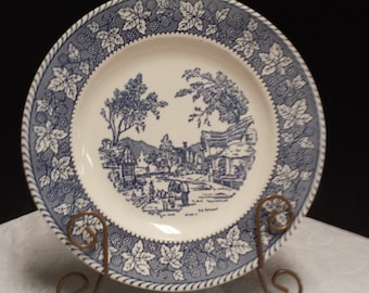 Beautiful Shakespeare Country; Homer Laughlin; Blue Transferware Stratwood Collection; Made in USA