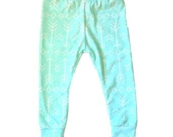 Baby Girl Leggings, Toddler Leggings, Baby Leggings, Turquoise Blue Leggings, Arrows Leggings