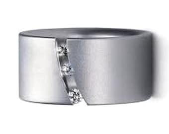 UNIQUE WEDDING RING Platinum Wedding Bands Women 3 Diamonds Unique Past Present Future Ring Diamonds Modern Diamond Ring Three Stone Ring