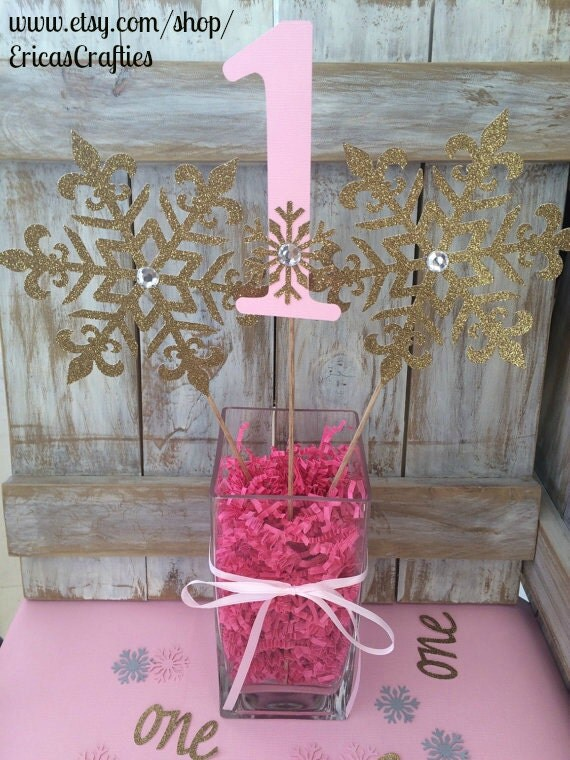 Winter onederland centerpiece frozen birthday pink gold