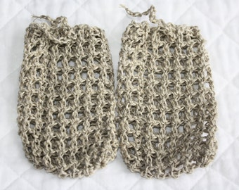 Crocheted Hemp Soap Bags, Natural Hemp Soap Savers, Soap Pouches, Set of Two (2), Exfoliating, Eco-friendly, Shower Sacks