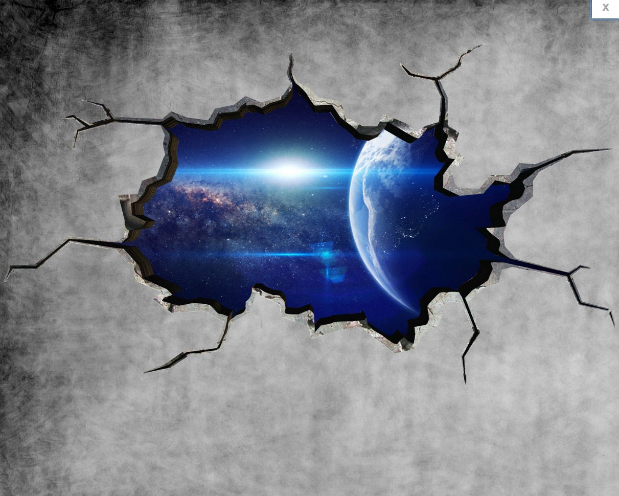 earth space planet galaxy cracked wall sticker stars mural zoom