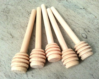 "50 (3 1/4"") Mini Honey Dippers Wood Sticks (8cm) - Individually Wrapped - Ready to Ship"