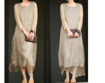 Camel sheer silk dress BonLife