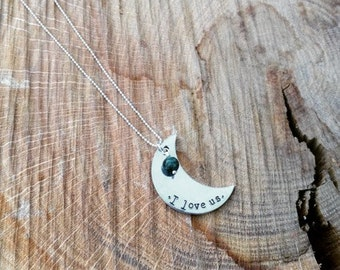 I love us custom hand stamped crecent necklace with turqouose or pearl stone