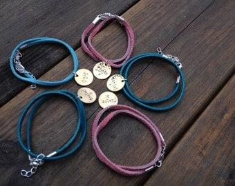 Custom suede double or single wrap friendship bracelet