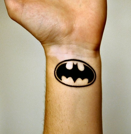 Batman logo temporary tattoo batman by temporarytattooyou for Batman logo tattoo