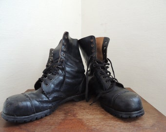 Men vintage Military Boots, Combat High Top Boots, Leather Lined, Grunge, Goth,