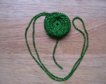 Necklace Hand Crocheted Green Beaded Bustle Necklace