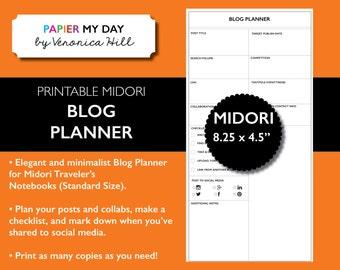 Midori Traveler's Notebook Blog Planner - Midori TN Inserts - Midori Blog Planning Printable