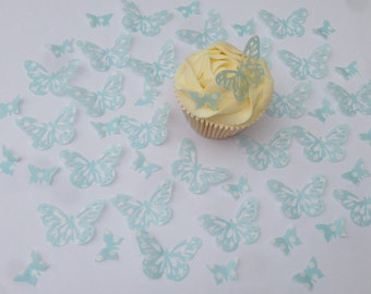 48 Edible Spotty Blue Butterfly Wafer Cupcake Toppers Precut