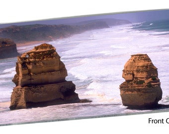 Twelve Apostles Checkbook Cover Pocket Note Pad, Australia Port Campbell National Park Victoria Great Ocean Blue Water Rocky Cliffs