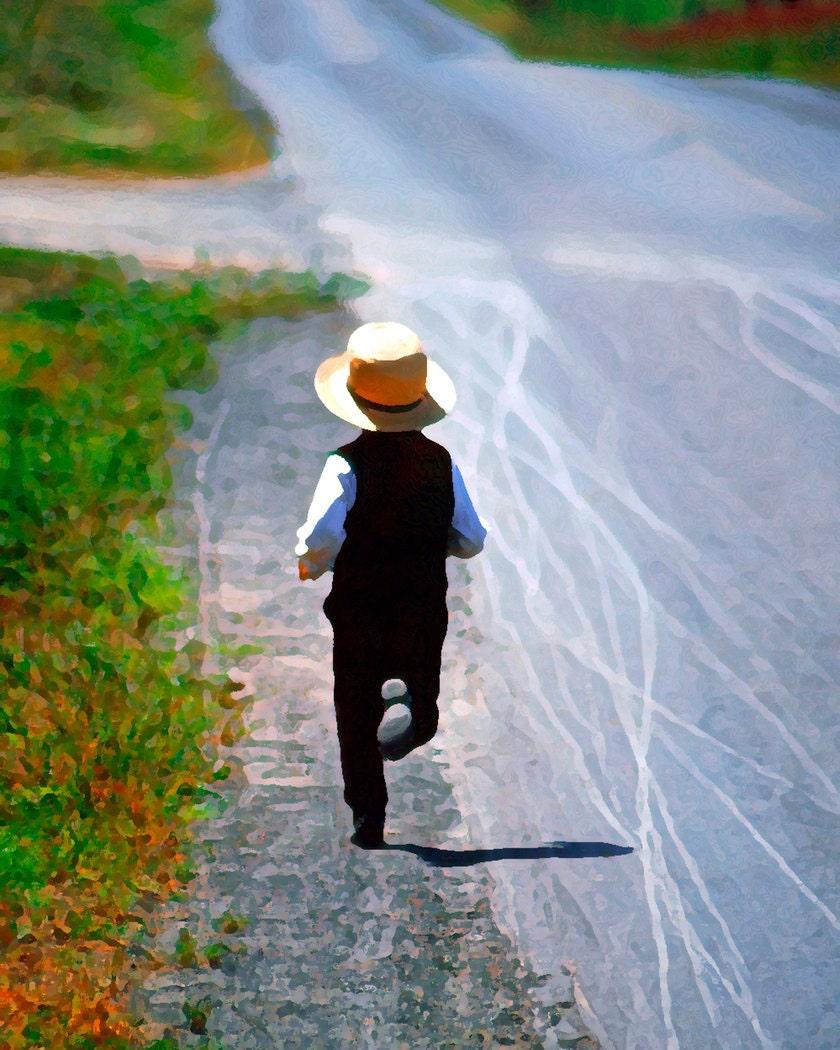 Amish Boy Running Fine Art Photography Wall Photo Print Green
