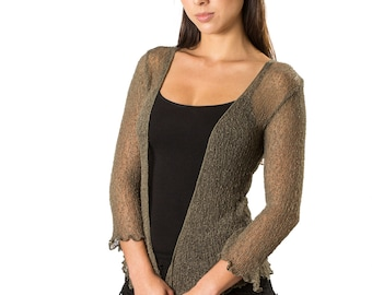 Knit Cardigan, Sheer Shrug, Cardigan Shrug, Sheer Bolero, Wedding Bolero, Olive Cardigan