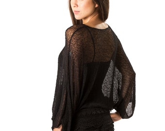 Beach Cover up, Swimsuit Cover up, Womens Tunic Top,  Dolman Sleeve Sweater Top, Woven Open Knit Mesh Sheer Cover up, Sheer top Black #1