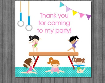 Gymnastic Party Favor Tags, Thank you tags
