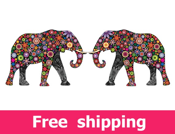 Elephants wall decal set wall sticker elephants art elephant Colorful elephant home decor