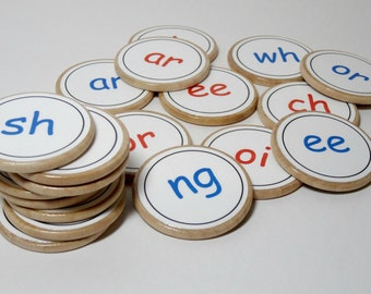 Custom phonics wooden memory match game - digraph sounds - choose the digraphs - educational toy - home school game - reading spelling game