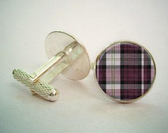 Purple Checked Cufflinks (Antique.bronze./.Silver.tone)