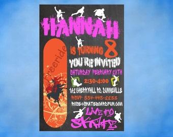 Skateboard Party Birthday Invitation Chalkboard Personalized Invite DIY Printable Skateboarding Invitation