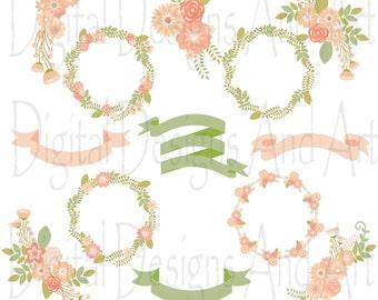 Pastel flower clipart, Floral clipart, Flowers digital clip art, Floral wreath, Flower ribbons, Soft pink flower, Green flower