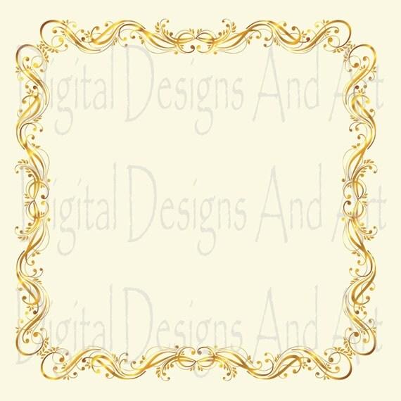 Gold Frames Gold Wedding Clipart Digital Clip Art Frames