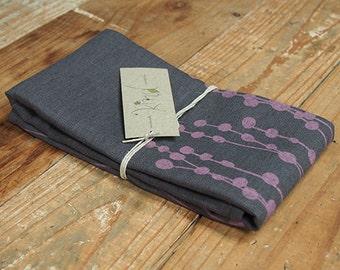 Tea Towel - Baubles in the Breeze - Pink on Grey