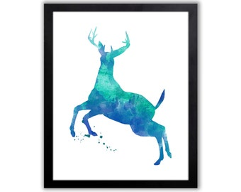 Animal Art Print - Stag Watercolor Painting, Home Wall Art - WA051