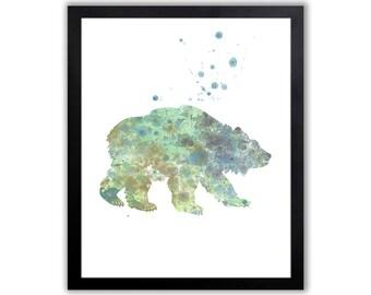Bear Art, Watercolor Bear Art Print, Grizzly Bear - WA004