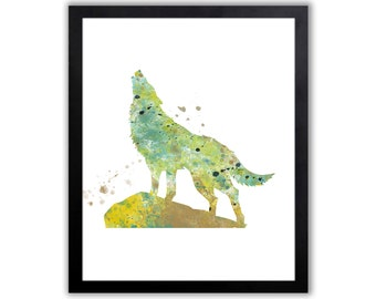 Abstract Wolf Watercolor Art Print, Animal Art, Animal Painting - WA059