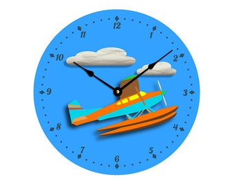 Contemporary airplane or seaplane design 10 inch wall clock. Child's room decor, nursery decor. Cheerful colors. CL3052 free US shipping
