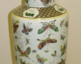 Republic Period Chinese Famille Rose Thousand Butterflies High Shoulder Vase