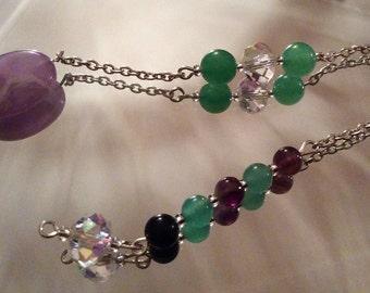 Handcrafted Amethyst, Green Aventurine and Swarovski Crystal Pendulum