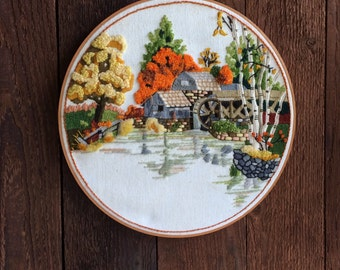 """1970's vintage crewel embroidery """"Fall Mill Pond"""", work mill scene, wall hanging"""