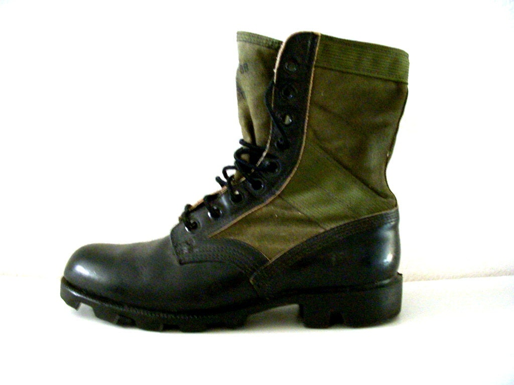 Vintage Spike Protective Combat Boots Leather And Canvas