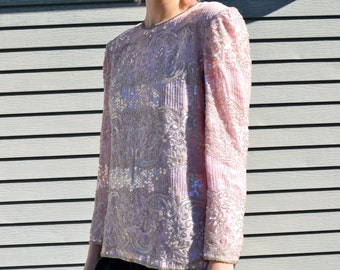 80's pale pink and silver beaded top