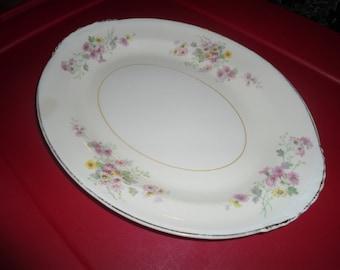 Vintage Porcelain Floral Eggshell Serving Platter